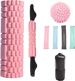 YESDEX Yoga Roller 45cm Set Foam Roller 8IN1 with Foam Massage Roller, Muscle Roller Stick, Spike Massage Ball, 4pcs Resis...