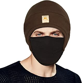 Fleece 2 in 1 Headwear Hat Helmet Liner Skull Cap with Face Mask Ultimate Thermal Retention and Performance