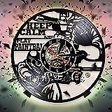 FDGFDG Mantenga Tranquilo Y JUEGUE Reloj de decoración de Pared con temática Deportiva Reloj de Pared de Disco de Vinilo Vintage Relojes de Pared 3D Decoración de diseño Moderno