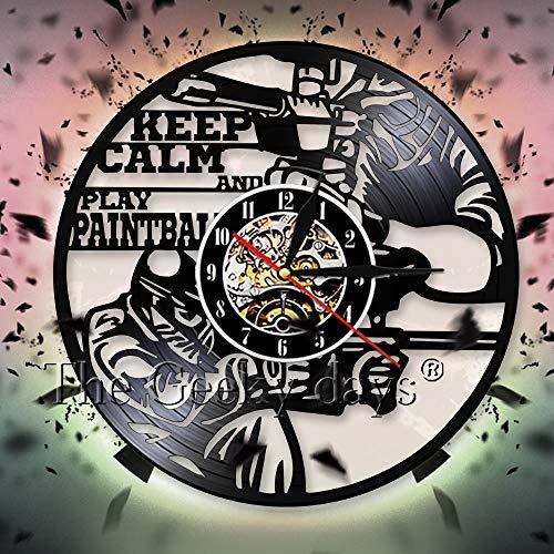 UIOLK Creatividad Retro Mantener la Calma y Jugar Colorido Tema de Deportes de Pelota decoración de la Pared Reloj Retro Disco de Vinilo Reloj de Pared Reloj de Pared 3D diseño decoración