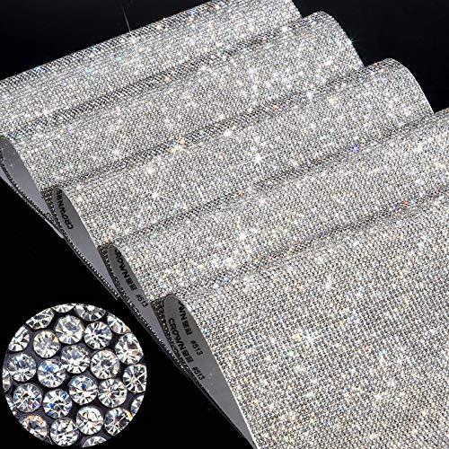 Hoja de 60000 Diamantes de Imitación de Cristal Brillante Pegatina Autoadhesiva de Gema de Cristal de Decoración de Coche con Diamantes de Imitación de 2 mm, 9,4 x 7,9 Pulgadas, 5 Hojas