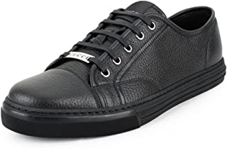 Gucci Women's Pebbled Nappa Leather Low-top Sneakers, Black 317337