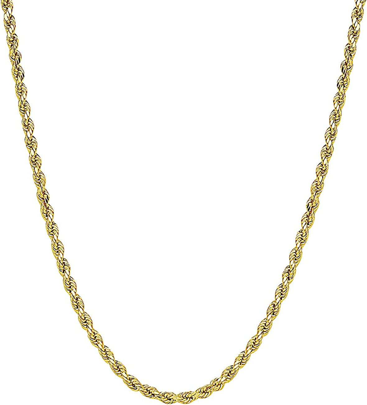 ITALY Jewelry 14K Gold Chain - 3MM Fancy Rope Chain Necklace, (16
