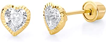 Wellingsale 14K White Gold Polished 7mm Round Solitaire Basket Style Prong Set Stud Earrings With Silicone Back