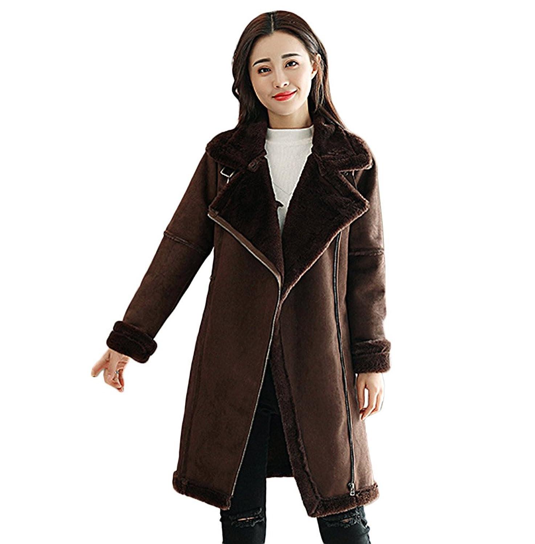 ZUOMAレディース ムートンコート スエードコート 毛皮一体 綿入れ上着 保温ジャケット ジャンパー 裏起毛 気質 細身