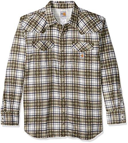 Carhartt Men's Big & Tall Flame Resistant Snap Front Plaid Shirt, Moss, 3X-Large