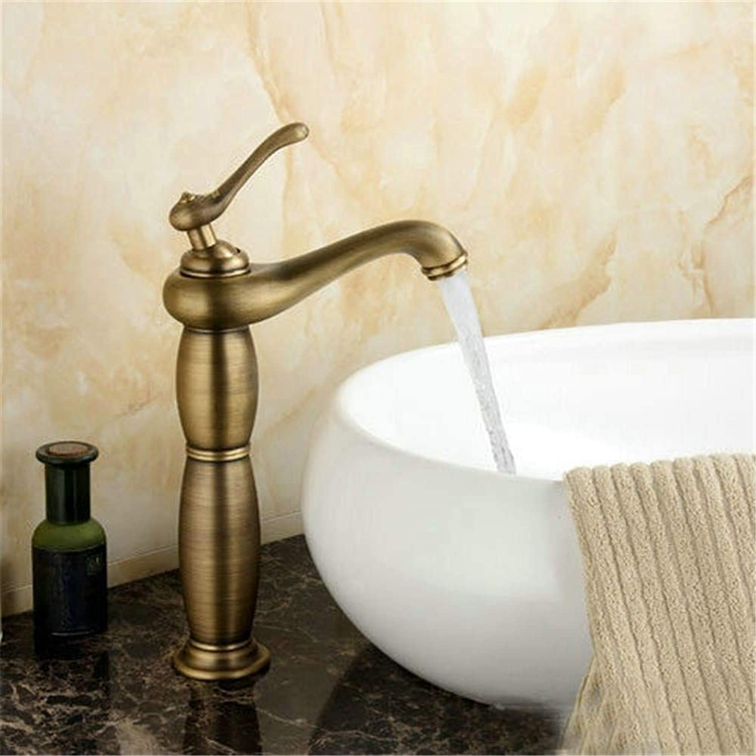 YAWEDA Bathroom Basin Faucets Brass Mixer Tap Antique Faucet Single Handle Retro with Aerator Hot and Cold Water Mixer Basin Faucet