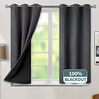 BGment Thermal Insulated 100% Blackout Curtains for Bedroom with Black Liner, Double Layer Full Room Darkening Noise Reducing Grommet Curtain (52 x 54 Inch, Dark Grey, 2 Panels)