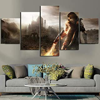 yisanwu 5 Piece Hd Fantasy Art Picture Prince of Persia The Forgotten Sands Video Game Poster Canvas Paintings for Home Wall Decor 10x15cmx2 10x20cmx2 10x25cmx1 Frame