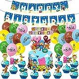 HASAKA 46 decoraciones de fiesta de PP de PP, decoración de temática de PP incluyendo decoraciones de pasteles Globos Banner Set para baby shower, suministros de fiesta de cumpleaños