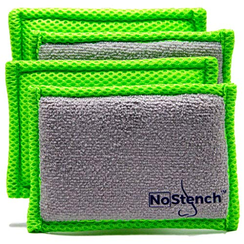 NoStench Kitchen Sponge | Durable Odor Fighting Microfiber Mesh and Terry Cloth, No Odor, Long Lasting Protection | Odor Free Lifestyle Product | 4 Pack 90 Day Guarantee