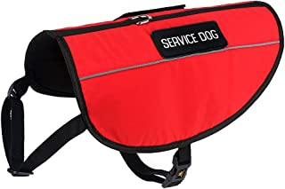 Plutus Pet Service Dog Vest, Bright Red Fabric & Reflective Straps,Breathable&Soft Mesh Padded Harness,2 Free Removable Service Dog Patches, 6 Adjustable Sizes