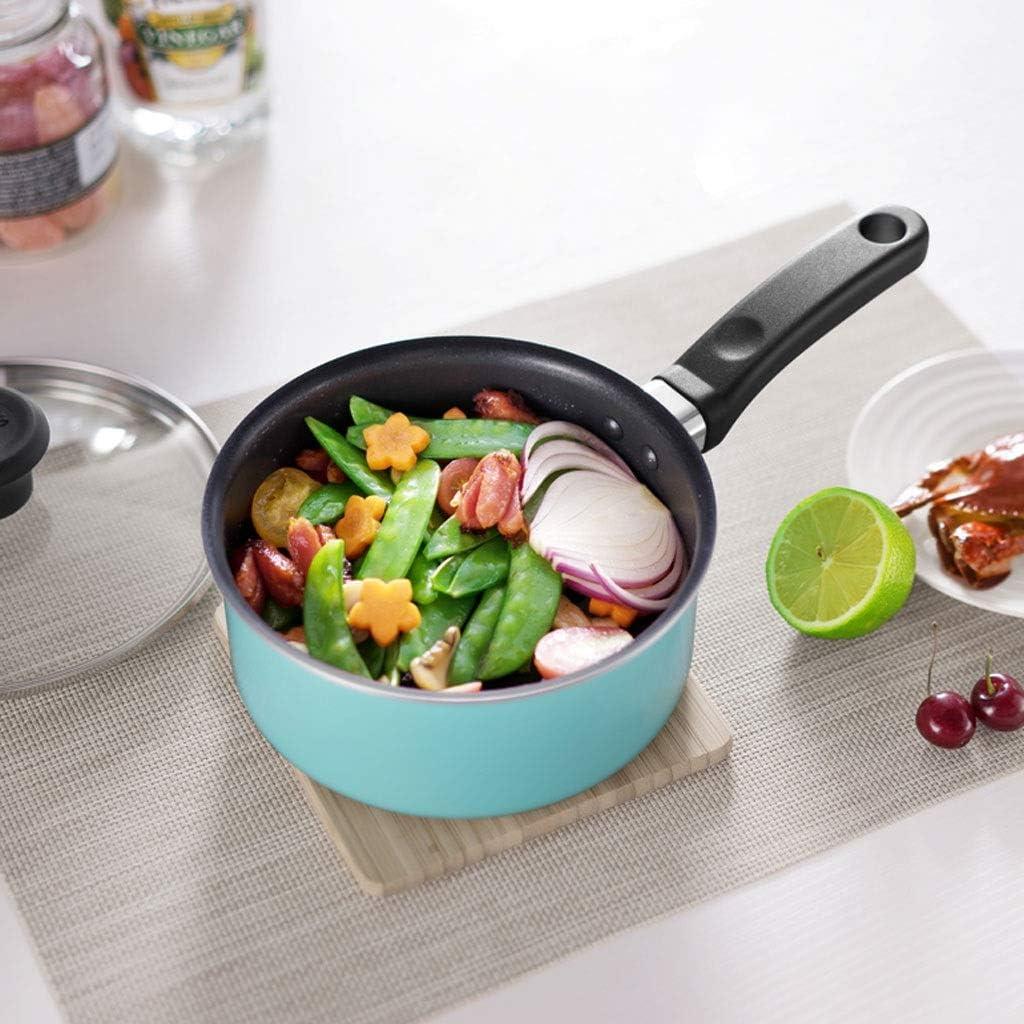 Poêle De Lait Lait Pan en alliage d'aluminium antiadhésif Casserole en verre Couvercle marmite à soupe antiadhésives Casserole Pot à Lait/Casserole à Lait (Color : Blue) Pink