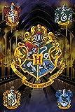Harry Potter Poster - Hogwarts mit allen Häuserwappen