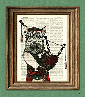 Hamish the Bagpiping Scottish Terrier With Bagpipes and Scottish Tam Hat Scottie Dog Beautifully Upcycled Dictionary Page Book
