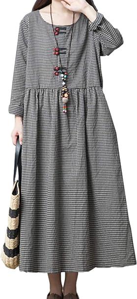 Yulinge Damen Wasche Kleid Baumwolle Skater Lange Armel Karierten Midi Kleider Amazon De Bekleidung