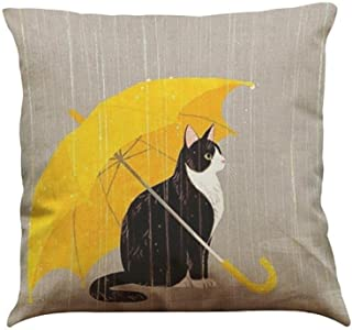 Wokasun.JJ Cute Cat Pillow Case Sofa Bed Home Decoration Festival Cushion Cover (D)