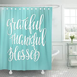 Emvency Shower Curtain Grateful Thankful Blessed Simple Lettering Graphic Hand Written Thanksgiving Shower Curtains Sets with Hooks 72 x 78 Inches Waterproof Polyester Fabric