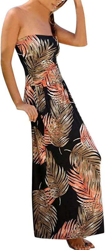Womens Summer Strapless Boho Print Sleeveless Mini Dress Casual Loose Tank Cover Ups Party Dresses Beach Sundress