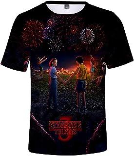 Camiseta Stranger Things Niño, Camiseta Stranger Things Mujer Unisex Impresión 3D Manga Corta T Shirt Hombre Abecedario Im...