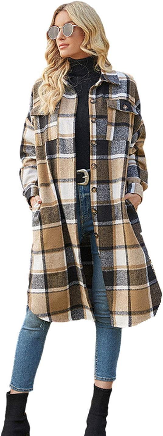 PUWEI Women's Casual Lapel Button Down Long Plaid Shirt Coat Tartan Shacket Jacket