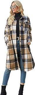 Women's Casual Lapel Button Down Long Plaid Shirt Coat...