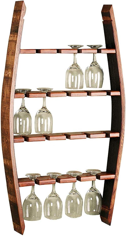 QRFDIAN Estante de Vidrio de Vino Moderno Europeo Boca Abajo de Madera Maciza Que cuelga Estante Simple de Vidrio de Vino para el hogar Sala de Estar Creativo Estante de Vidrio Alto