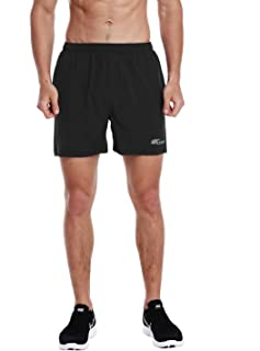 EZRUN Men's 5 Inches Running Workout Shorts Quick Dry Lightweight Athletic Shorts with Liner Zipper Pockets