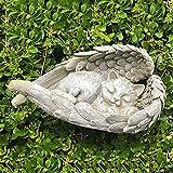 Perro Gato Estatua de Jardín,Resina Esculturas Arte Figurines,Ángel Alas Mascota Memorial Estatua Al Aire Libre Dormir Ángel Escultura de Animales Decoración de Exterior Ornamento-Gato 12x5x6cm(4.7x2x