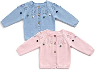 Baby Sweater Knitting Patterns Colorful Pompoms Baby Girl Cardigan for Autumn Fall 3-24 Months