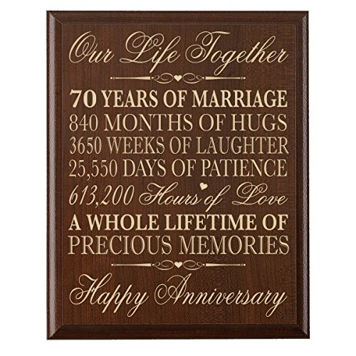 """70th Wedding Anniversary Wall Plaque Gifts for Couple Parents, 70th for Her,him 70th Wedding for Him 12"""" W X 15"""" H Wall Plaque (Cherry)"""