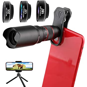 LIERONT Phone Camera Lens Kit 5 in 1: 25X Telephoto Lens Compatible with iPhone 11 10 8 7 6 6s Plus X XS XR Samsung 210/° Fisheye Lens 0.62X Wide Angle Lens /& 25X Macro Lens