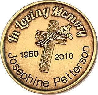 Engraved In Loving Memory Cross Rose Medallion Personalized Name Date Memorial