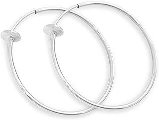 Aloha Earrings Silver Spring Hoops Earrings Clip On-Small, Medium & Large Silver Clip Hoop Earrings for Women