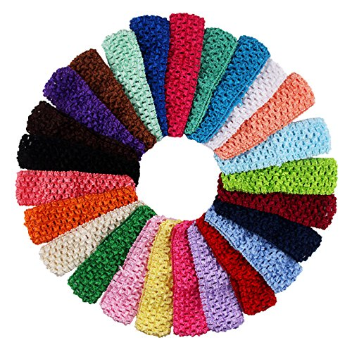 Numblartd 25 Pcs Colourful Crochet Elastic Headbands Hair Accessories - 1.5 Inch Width Stretch Hair Bands DIY Head Bows and Flower Accessories