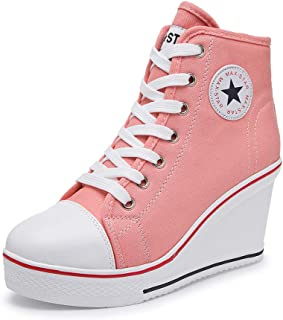Women's Sneaker High-Heeled Canvas Shoes High-Top Wedge Sneakers Platform Lace up Side Zipper Pump Fashion Sneakers
