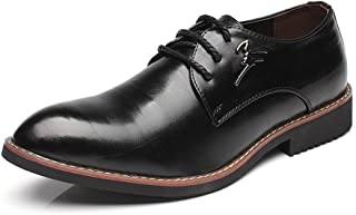 MYHYZZ-Oxfords Men's Business Oxfords Matte PU Leather Vamp Lace up Block Heel Pointed Toe Lined shoes