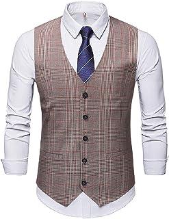 MU2M Men Slim Fit Single Breasted Tweed Waistcoat Plaid Suit Vest