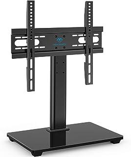 """PERLESMITH Support TV Universel pour TV LCD LED de 37 à 55"""" - Hauteur réglable avec Base en Verre trempé et Gestion des câ..."""