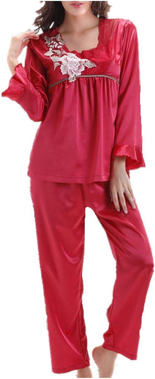 Nelliewins 2019 Womens Faux Silk Pajamas Sets Spring Summer Female Lace Embroidered Satin Pyjamas Sleepwear Loungewear L,XL,XXL,XXXL