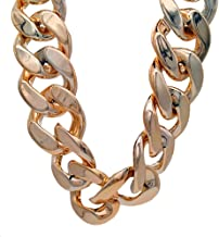 TUOKAY Huge Plastic Gold Chain Necklace, Big Chunky Hip Hop Turnover Chain Necklace for Rapper, 80s 90s Punk Style Necklace Costume Jewelry for Rap Gangsta, 34mm, 32 inches Long Rose Gold