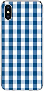 Light Blue and White Plaid Protective Cell Phone Case Cover for iPhone 5 5S 6 6s 7 8 Plus X XR XS Max (Light Blue Plaid) (iPhone Xs Max)