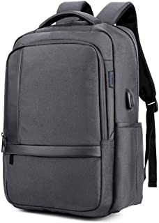 Arder Oxford Cloth Computer Bag USB Charging Outdoor Backpack 18 Inch Waterproof, Breathable, Wear-Resistant, Burden Reduction Ergonomics Solid Color Leisure Simple Relaxed (Color : Gray)