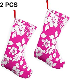 Godfery Gabriel Christmas Stockings Pink Hawaiian Flower Personalized Xmas Gift Party Accessory Decor 12inch 2 Pack