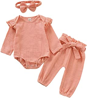 Mikrdoo Infant Baby Girl Clothes Ruffle Long Sleeve Bodysuit Tops Linen Solid Pants with Headband 3PCS Toddler Girl Outfit Set