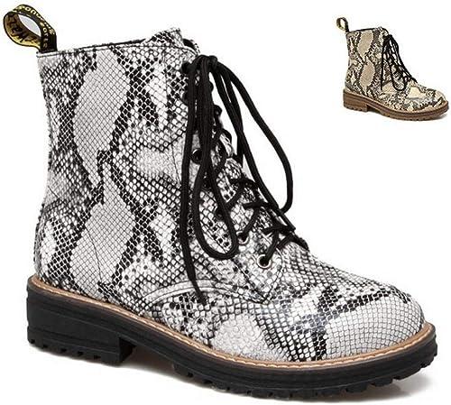 ZHRUI Stiefel para damen - Stiefel con Punta rotonda y Estampado de Serpiente Stiefel Martin de Encaje 34-43 (Farbe   Silber, tamaño   43)