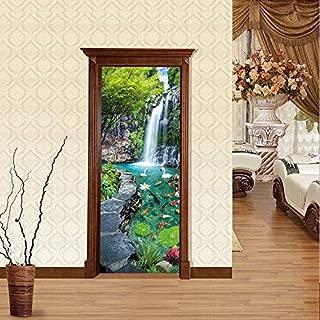 FLFK 3D Garden Landscape Door Stickers Mural Photo Self Adhesive Wall Sticker Decal 30.3x78.7 inch