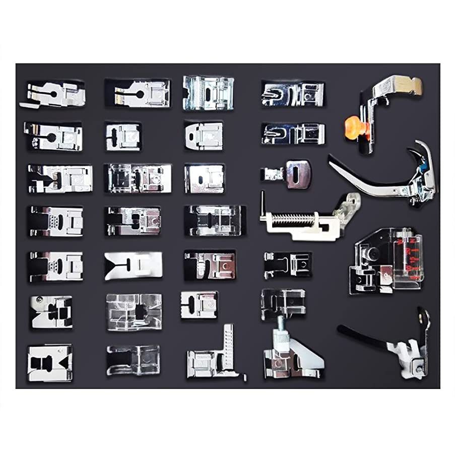 NUZAMAS [Updated] 32pcs Professional Sewing Machine Presser Feet Set, Multifunction Domestic Presser Foot Space Parts Accessories for Brother, Babylock, Singer, Janome, Kenmore, Box Packed