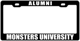 DZGlobal Alumni Monsters University Black Customized License Plate Frame Cute Aluminum Metal License Plate Frame Auto Car for US Standard 2 Holes and Screws