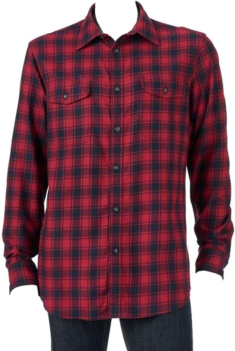 Sonoma Mens Classic Fit Flannel Shirt Red Grey Plaid Check